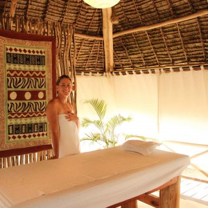 A guest enjoying a relaxing massage at Lonno Lodge in Watamu