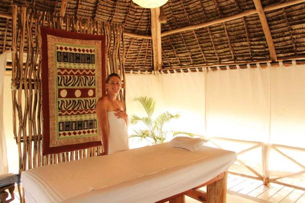 A guest enjoying a relaxing massage at Lonno Lodge in Watamu